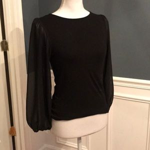 Black blouse with see through sleeves